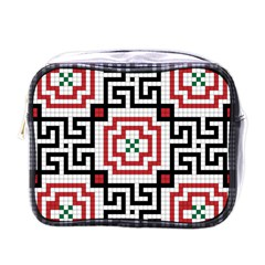 Vintage Style Seamless Black, White And Red Tile Pattern Wallpaper Background Mini Toiletries Bags by Simbadda