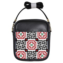 Vintage Style Seamless Black, White And Red Tile Pattern Wallpaper Background Girls Sling Bags by Simbadda