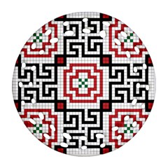 Vintage Style Seamless Black, White And Red Tile Pattern Wallpaper Background Ornament (round Filigree) by Simbadda