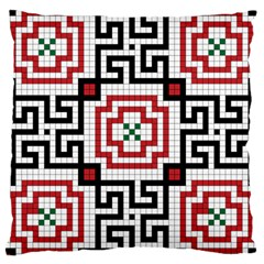 Vintage Style Seamless Black, White And Red Tile Pattern Wallpaper Background Large Cushion Case (two Sides) by Simbadda