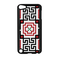 Vintage Style Seamless Black, White And Red Tile Pattern Wallpaper Background Apple Ipod Touch 5 Case (black) by Simbadda