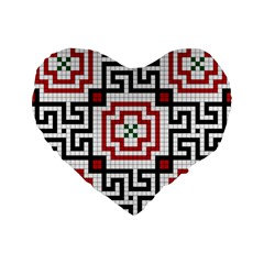 Vintage Style Seamless Black, White And Red Tile Pattern Wallpaper Background Standard 16  Premium Heart Shape Cushions by Simbadda