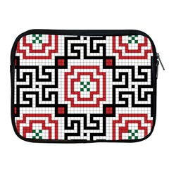 Vintage Style Seamless Black, White And Red Tile Pattern Wallpaper Background Apple Ipad 2/3/4 Zipper Cases by Simbadda