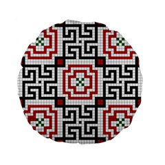 Vintage Style Seamless Black, White And Red Tile Pattern Wallpaper Background Standard 15  Premium Flano Round Cushions by Simbadda