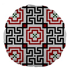 Vintage Style Seamless Black, White And Red Tile Pattern Wallpaper Background Large 18  Premium Flano Round Cushions by Simbadda