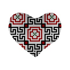 Vintage Style Seamless Black, White And Red Tile Pattern Wallpaper Background Standard 16  Premium Flano Heart Shape Cushions by Simbadda