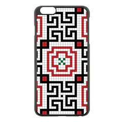 Vintage Style Seamless Black, White And Red Tile Pattern Wallpaper Background Apple Iphone 6 Plus/6s Plus Black Enamel Case by Simbadda