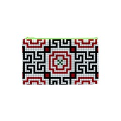 Vintage Style Seamless Black, White And Red Tile Pattern Wallpaper Background Cosmetic Bag (xs) by Simbadda