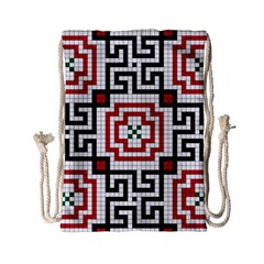 Vintage Style Seamless Black, White And Red Tile Pattern Wallpaper Background Drawstring Bag (small) by Simbadda