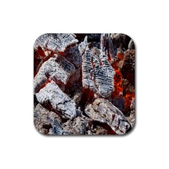 Wooden Hot Ashes Pattern Rubber Square Coaster (4 Pack)  by Simbadda