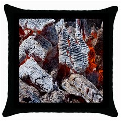 Wooden Hot Ashes Pattern Throw Pillow Case (black) by Simbadda