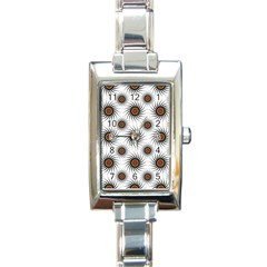 Pearly Pattern Half Tone Background Rectangle Italian Charm Watch by Simbadda