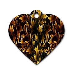 Loral Vintage Pattern Background Dog Tag Heart (two Sides) by Simbadda