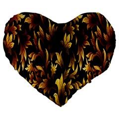 Loral Vintage Pattern Background Large 19  Premium Heart Shape Cushions by Simbadda