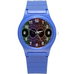 Digital Colored Ornament Computer Graphic Round Plastic Sport Watch (s) by Simbadda