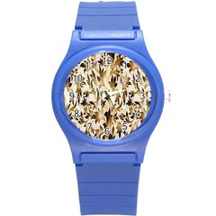 Floral Vintage Pattern Background Round Plastic Sport Watch (s) by Simbadda