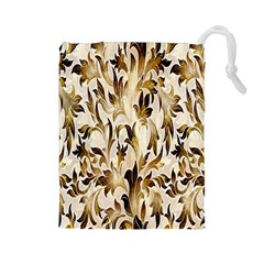 Floral Vintage Pattern Background Drawstring Pouches (large)  by Simbadda