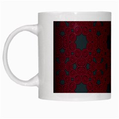 Blue Hot Pink Pattern With Woody Circles White Mugs by Simbadda