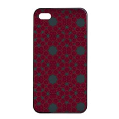 Blue Hot Pink Pattern With Woody Circles Apple Iphone 4/4s Seamless Case (black) by Simbadda