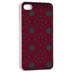 Blue Hot Pink Pattern With Woody Circles Apple Iphone 4/4s Seamless Case (white) by Simbadda