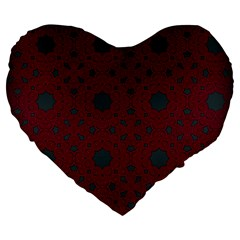 Blue Hot Pink Pattern With Woody Circles Large 19  Premium Heart Shape Cushions by Simbadda