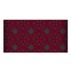 Blue Hot Pink Pattern With Woody Circles Satin Shawl by Simbadda