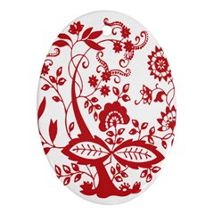 Red Vintage Floral Flowers Decorative Pattern Clipart Ornament (oval) by Simbadda