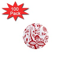 Red Vintage Floral Flowers Decorative Pattern Clipart 1  Mini Magnets (100 Pack)  by Simbadda