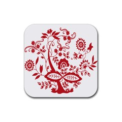 Red Vintage Floral Flowers Decorative Pattern Clipart Rubber Square Coaster (4 Pack)  by Simbadda
