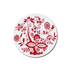 Red Vintage Floral Flowers Decorative Pattern Clipart Rubber Round Coaster (4 Pack)  by Simbadda