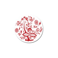 Red Vintage Floral Flowers Decorative Pattern Clipart Golf Ball Marker by Simbadda