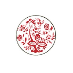 Red Vintage Floral Flowers Decorative Pattern Clipart Hat Clip Ball Marker (4 Pack) by Simbadda