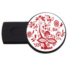 Red Vintage Floral Flowers Decorative Pattern Clipart Usb Flash Drive Round (4 Gb) by Simbadda