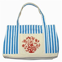 Red Vintage Floral Flowers Decorative Pattern Clipart Striped Blue Tote Bag by Simbadda