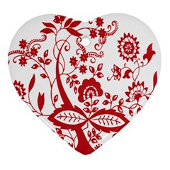 Red Vintage Floral Flowers Decorative Pattern Clipart Heart Ornament (two Sides) by Simbadda