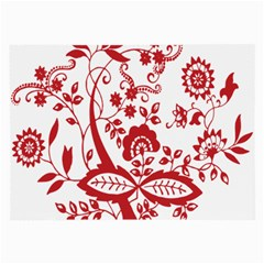 Red Vintage Floral Flowers Decorative Pattern Clipart Large Glasses Cloth by Simbadda
