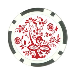 Red Vintage Floral Flowers Decorative Pattern Clipart Poker Chip Card Guard (10 Pack) by Simbadda