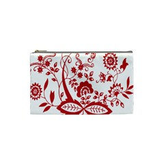 Red Vintage Floral Flowers Decorative Pattern Clipart Cosmetic Bag (small)  by Simbadda