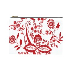 Red Vintage Floral Flowers Decorative Pattern Clipart Cosmetic Bag (large)  by Simbadda
