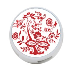 Red Vintage Floral Flowers Decorative Pattern Clipart 4 Port Usb Hub (one Side) by Simbadda