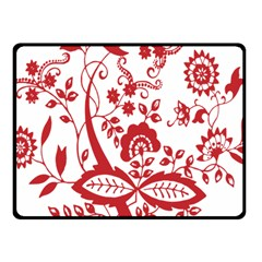 Red Vintage Floral Flowers Decorative Pattern Clipart Fleece Blanket (small) by Simbadda