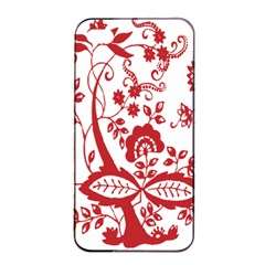 Red Vintage Floral Flowers Decorative Pattern Clipart Apple Iphone 4/4s Seamless Case (black) by Simbadda