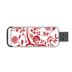 Red Vintage Floral Flowers Decorative Pattern Clipart Portable Usb Flash (one Side) by Simbadda