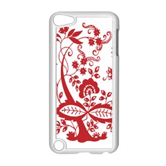 Red Vintage Floral Flowers Decorative Pattern Clipart Apple Ipod Touch 5 Case (white) by Simbadda
