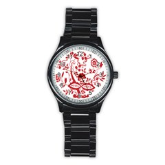 Red Vintage Floral Flowers Decorative Pattern Clipart Stainless Steel Round Watch by Simbadda