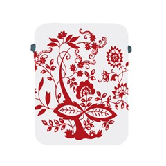 Red Vintage Floral Flowers Decorative Pattern Clipart Apple Ipad 2/3/4 Protective Soft Cases by Simbadda