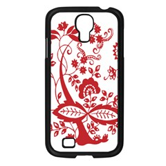 Red Vintage Floral Flowers Decorative Pattern Clipart Samsung Galaxy S4 I9500/ I9505 Case (black) by Simbadda