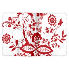 Red Vintage Floral Flowers Decorative Pattern Clipart Kindle Fire Hdx Flip 360 Case by Simbadda