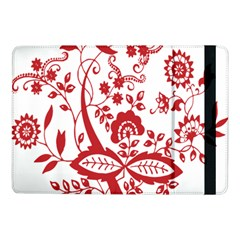 Red Vintage Floral Flowers Decorative Pattern Clipart Samsung Galaxy Tab Pro 10 1  Flip Case by Simbadda