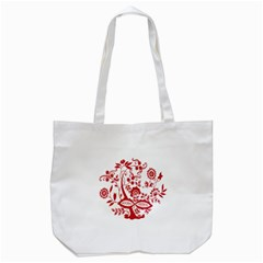 Red Vintage Floral Flowers Decorative Pattern Clipart Tote Bag (white)